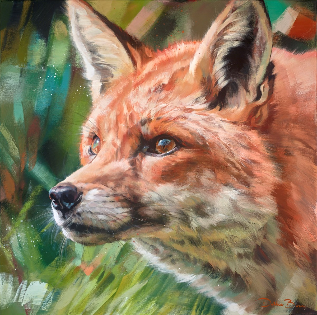 Little Red by debbie boon -  sized 28x28 inches. Available from Whitewall Galleries
